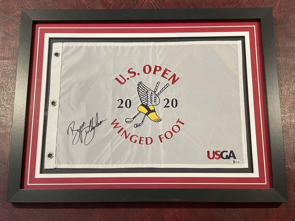 2020 US Open Flag Display - Bryson DeChambeau Autographed